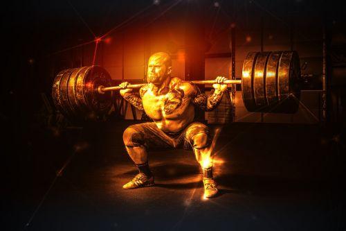 man weight lifter muscular