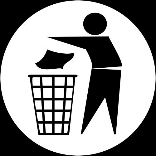 man recycling trash