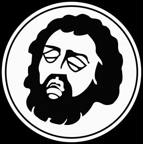 man black and white head
