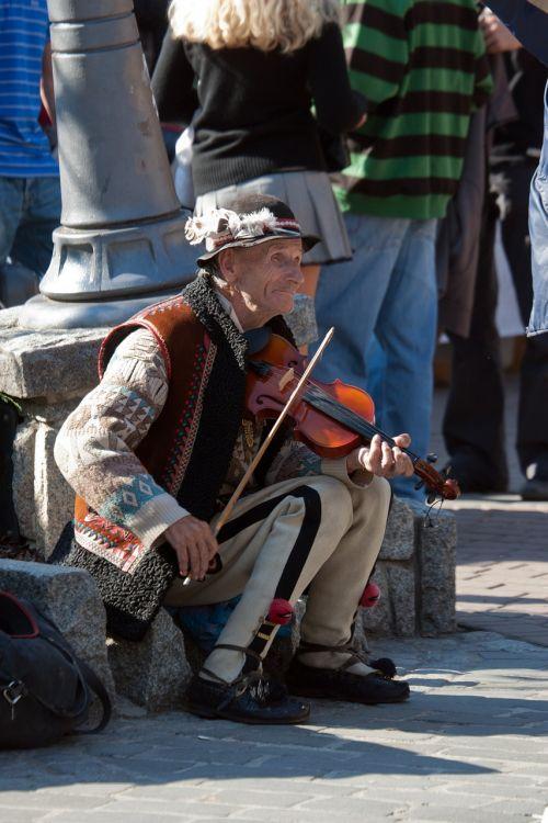 man elderly violin