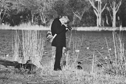 man  photographer  standing