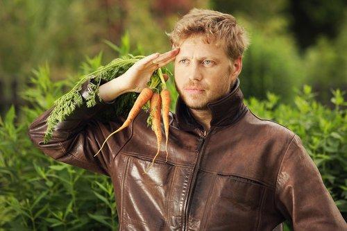 man  carrot  fruit