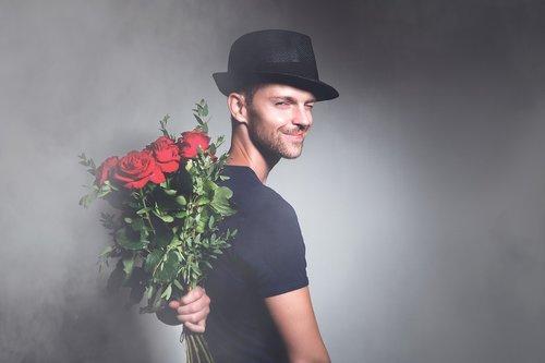 man  flowers  romance