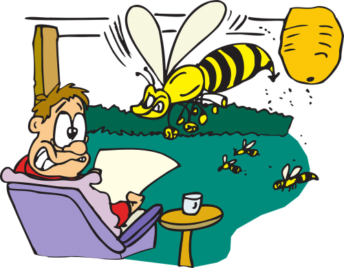 man scared bees