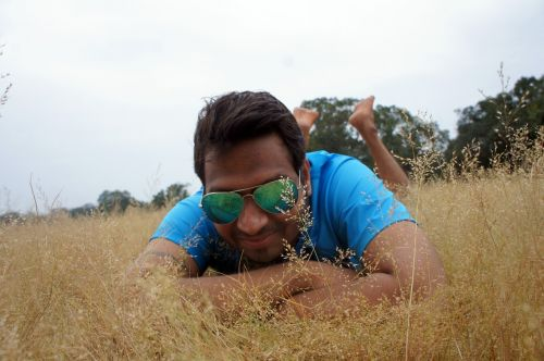 man relax hay