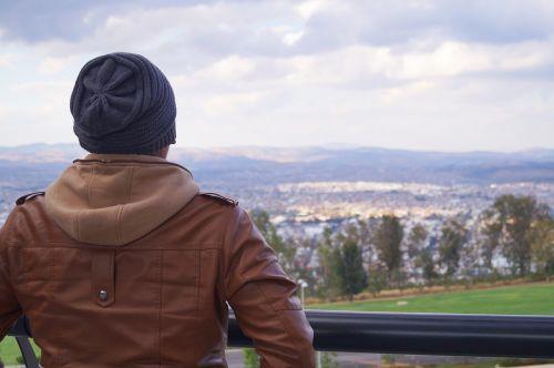 man observing horizon