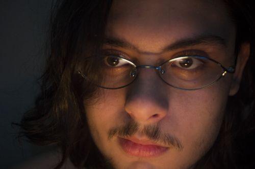 man glasses hair