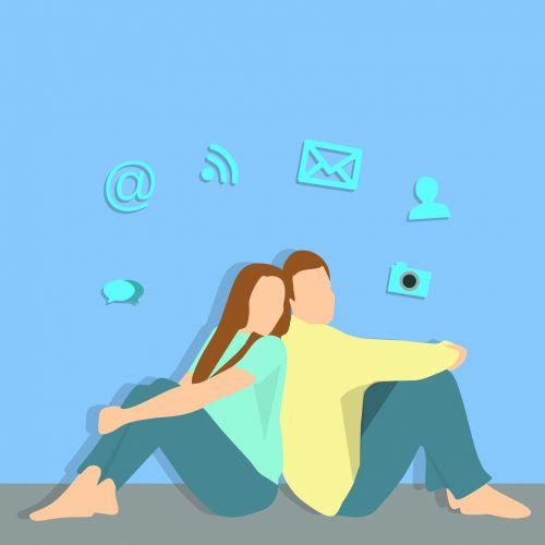 Man And Woman And Social Media