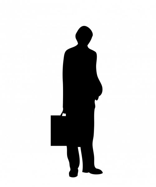 Man Black Silhouette Briefcase