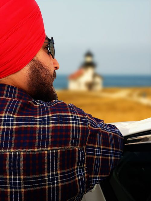 man by the sea turban portrait