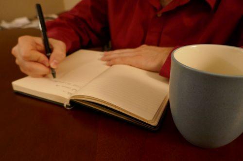 žurnalas, rašymas, puodelis, kava, dienoraštis, vyras, rašiklis, žurnalas, vyras žurnalas
