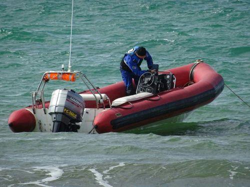 Man On Inflatable Speedboat