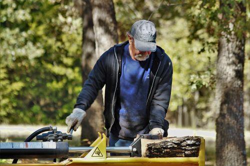 Man Using Log Splitter 2