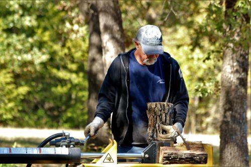 Man Using Log Splitter