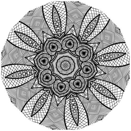mandala line art black and white