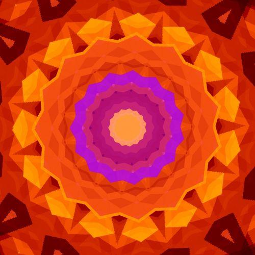 mandala orange pink