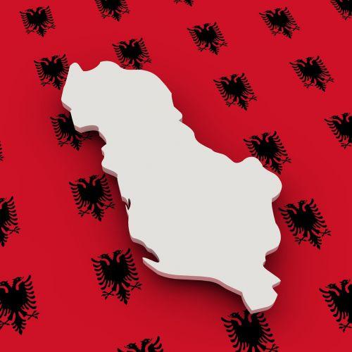 map albania flag