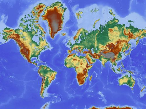 map map of the world relief map