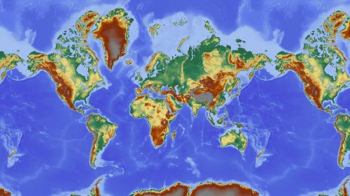 map of the world map relief map