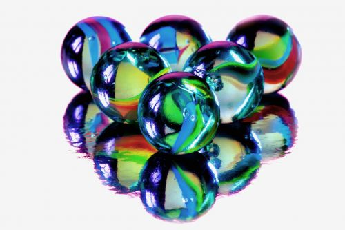 marbles blue glass