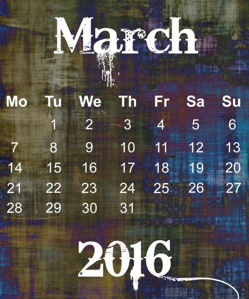 March 2016 Grunge Calendar