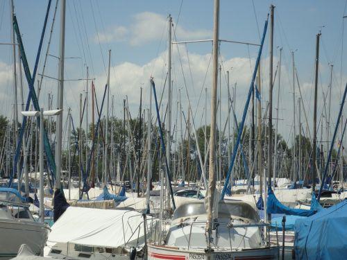marina sail masts lake constance