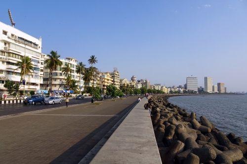 jūrų pavara,boulevard,Pietų Mumbajus,jūra,arabų,kranto,įlanka,Narimano taškas,Promenada,karalienės karoliai,Mumbajus,Indija
