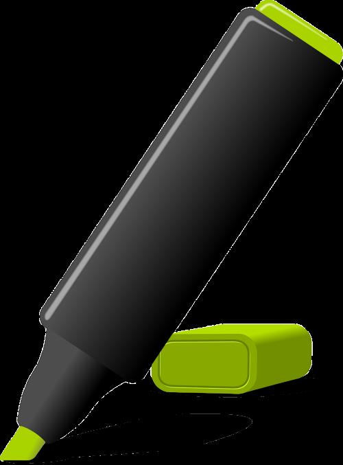 ženkliukai,žymeklis,žalias,biuras,rašiklis,veltinio rašiklis,nemokama vektorinė grafika