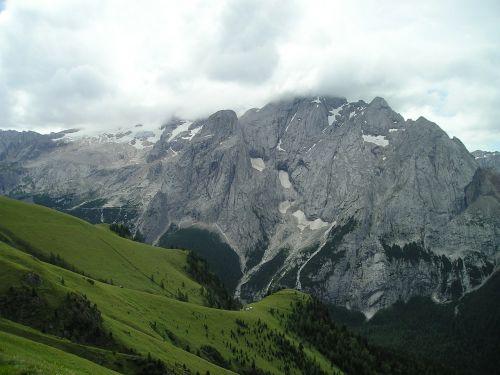 marmolada north wall glacier clouds