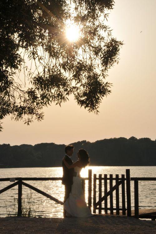 marriage sunset wedding