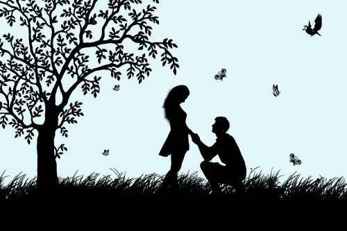 Marriage Proposal Couple Silhouette