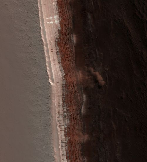 mars martian surface avalanche