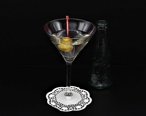 martini  olive  glass