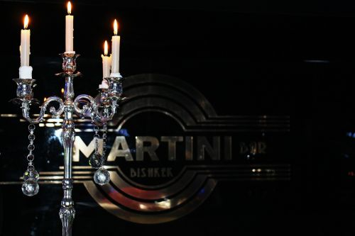 martini candles glass
