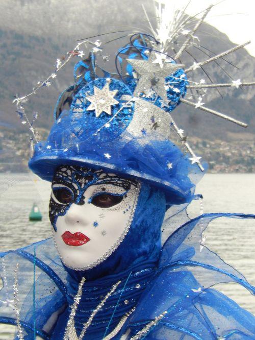 mask blue carnival