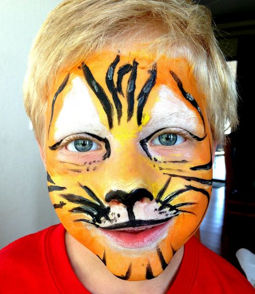 mask,make-up,costume,tiger,lion,child,face painting,face,cat face