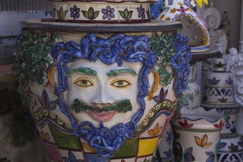 mask  sicily  vase