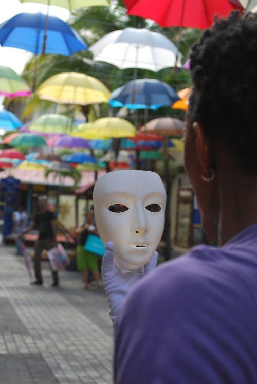 mask street umbrellas