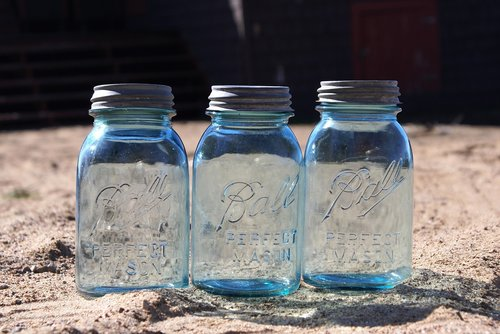 mason jars  blue jars  glass
