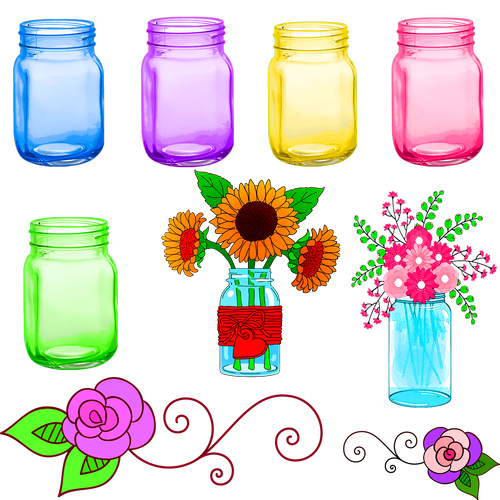 mason jars  colorful  flowers