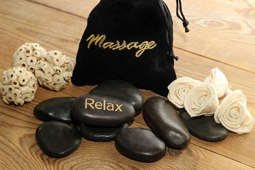 massage  stones  black