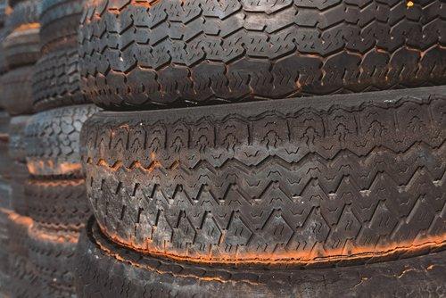 mature  auto tires  stack