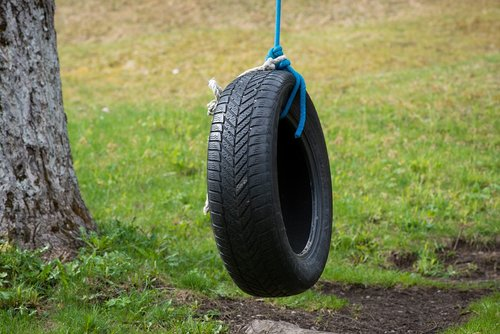 mature  auto tires  tire swing