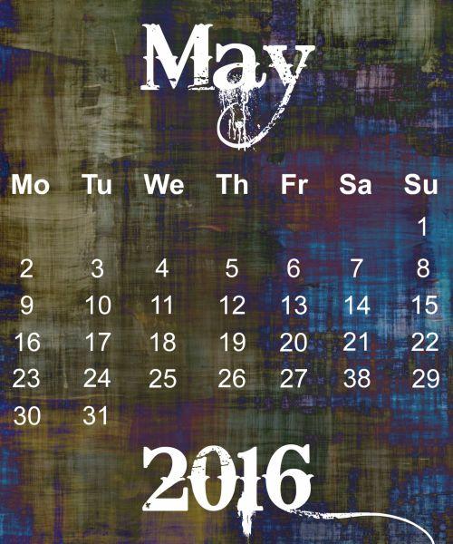 May 2016 Grunge Calendar