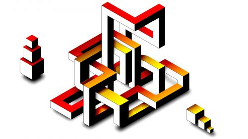 maze illusion drawing-vector