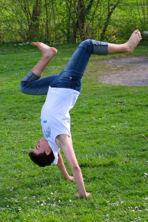meadow acrobatics boy