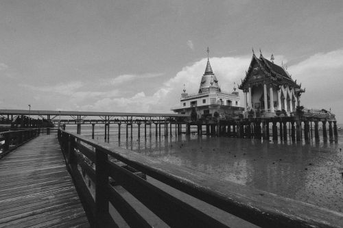measure,sea,thailand,religion,wednesday,tourism,black and white,peace,bridge,sea water,architecture