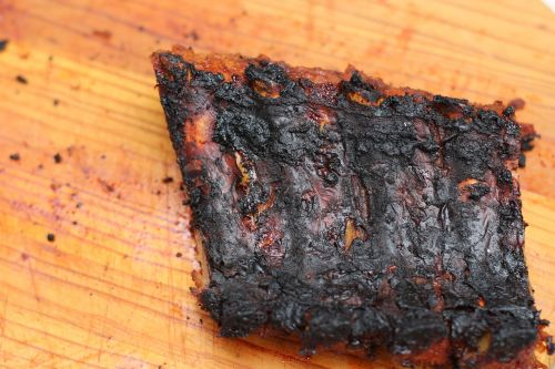 meat wood burned