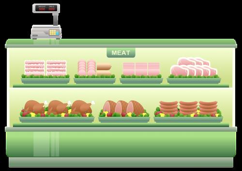 meat counter supermarket shelf meats