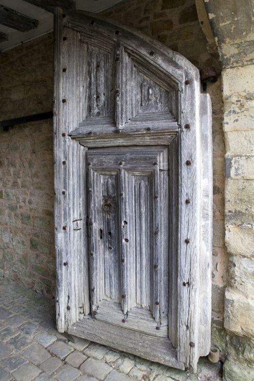 medieval oak door iron bolts judas gate